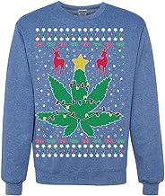 Funny 4/20 Weed Ugly Christmas Sweater   Marijuana Lit Deer Pot Leaf Xmas Lights Ugly Christmas Sweater Crewneck