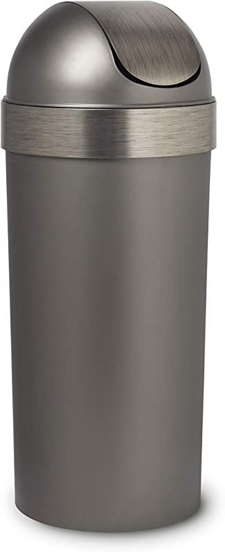 Umbra Venti 16 Gallon Swing Top Kitchen Trash Large 35 Inch Tall Garbage Can For Indoor Outdoor Or Commercial Use Pewter