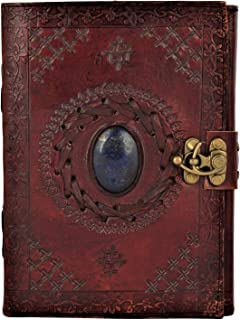Leather Journal with Semi-precious Stone & Buckle Closure Leather Diary Gift for Him Her