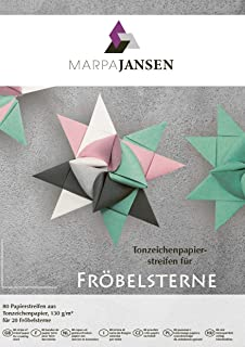 Paper Strips for Froebel Stars (1.5 x 45 cm, 80 Strips, 130 g/m2) - Assorted Colours - Mint, Rose, White, Antique Grey