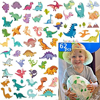 Dinosaur Temporary Tattoos(62 Pcs) Jurassic Waterproof Dino Stickers for Boys, Birthday Jungle Adventure Jurassic Park Summer Party Decoration Supplies for Kids and Adults