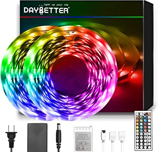 DAYBETTER Led Strip Lights 50ft, RGB Light Strip Kits with Remote, 5050 SMD 12V DIY Color Changing LED Lights, Bright Tape Lights Led Llights for Bedroom Room TV Kitchen Desk Party with 3M Adhesive