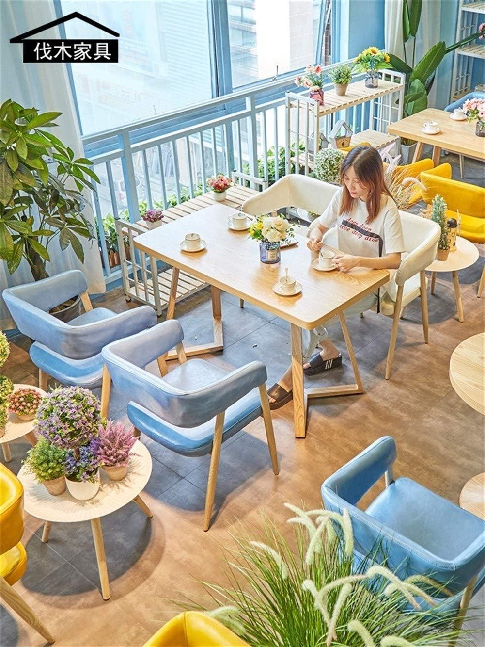 Wuzhengzhijie Table de Salle à Manger et chaises en Bois de café de Bois de Cire d'huile de ménage de café de ménage de Restaurant Occidental (Color : White) Blue