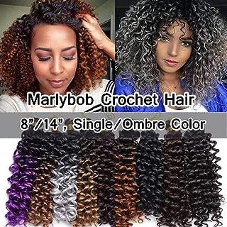 SEGO Marlibob Marlybob Crochet Braids Hair Extension 8 Inch Water Wave Crochet Braiding Hair Braids Kinky Curly Afro Jerry Curl Crochet Hair Weave for Black Women #Dark Brown 3 Bundle