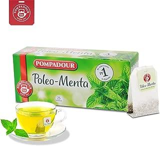 POMPADOUR Peppermint Herbal Tea Bags, 100% Natural Pennyroyal- Mint (Poleo- Menta), Double Tea Bag Infusers, 25 ct, 1.06 oz Box