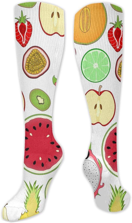 Fruits Slice Knee High Socks Leg Warmer Dresses Long Boot Stockings For Womens Cosplay Daily Wear