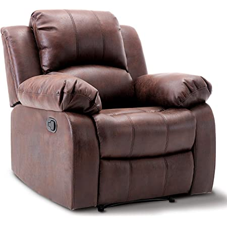 Home Theater Seating Bedroom /& Living Room Chair Recliner Sofa Overstuffed Electric Faux Suede Leather Recliner Chair with USB Charge Port Chocolate Bonzy Home Power Recliner Chair Air Suede