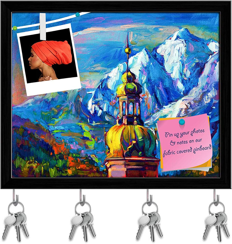 Artzfolio Artwork of Church in Front of Mountain Landscape Key Holder Hooks   Notice Pin Board   Black Frame 19.8 X 16Inch