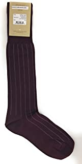VK Nagrani Men's Dress Socks Over The Calf Pinstripe Cotton Cashmere CCP011 Burgundy