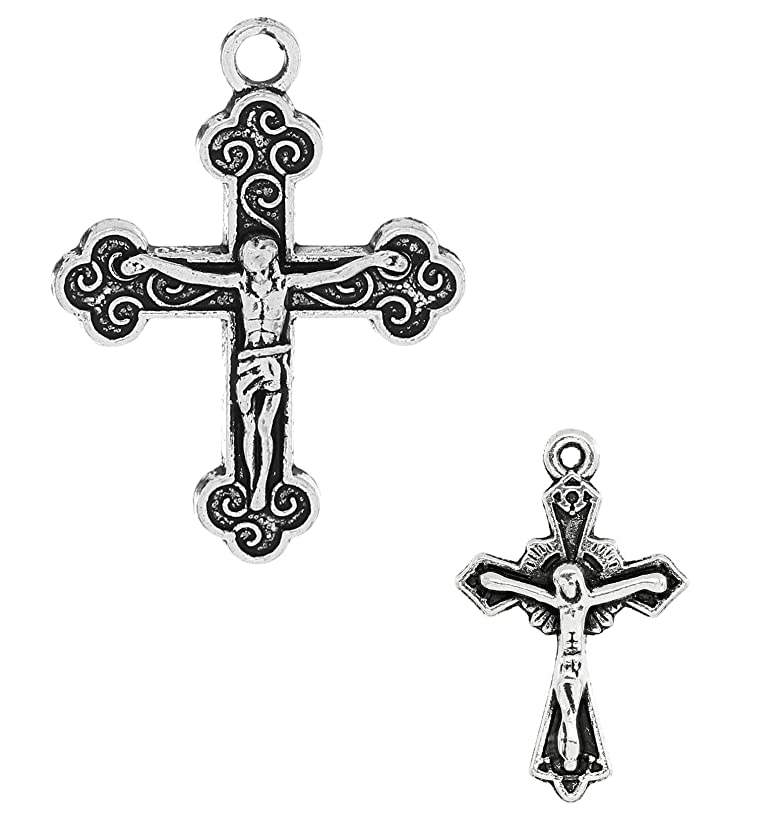 Cross Crucifix Charm Pendants, 100 Pack (50 of Each)