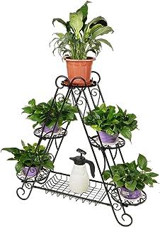 hlc Bastidor metálico para macetas, Soporte para Plantas y Flores en Forma Triangular- 6 bandejas Color: Negro 96 * 26 * 93 cm.