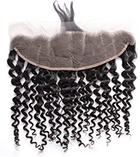 Wholesale Best 13x4 Ear to Ear Lace Frontal Closure Natural Black Color Pre Plucked With Baby Hair Real Brazilian Indian Virgin Hair Extensions Cheap Peruvian Human Hair Deep Wave One Piece 12 Inches