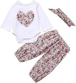 ??Aijoo??6-24ヶ月+赤ちゃん+長袖+ハート+切れ花+プリント+ハット+ピップパンツ+髪帯+セット