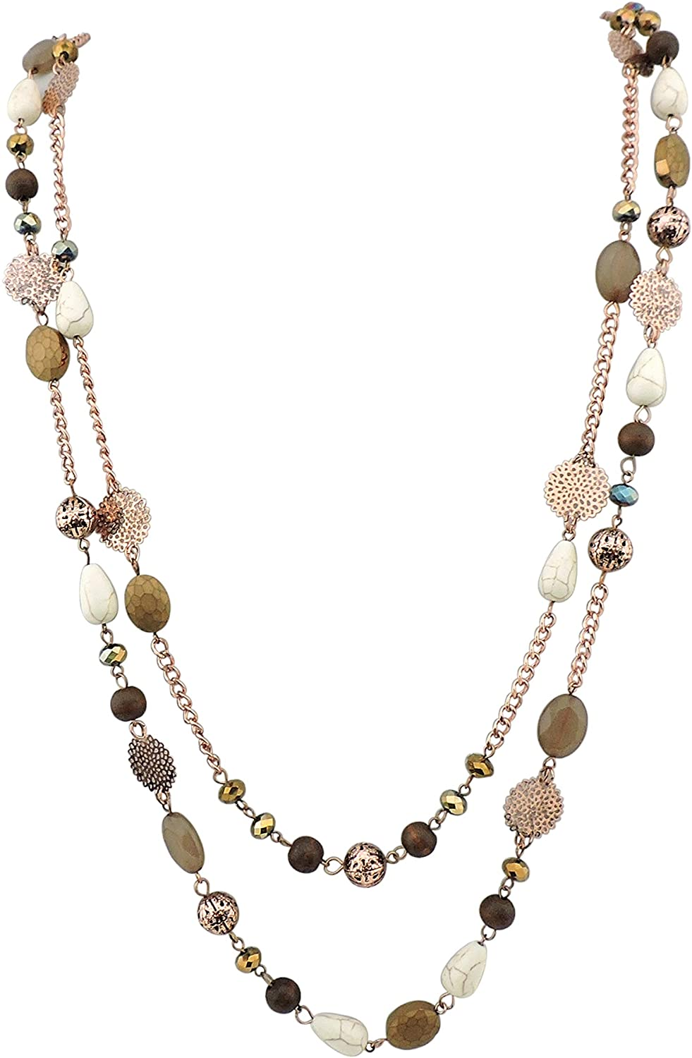 BOCAR 2 Layer Long Link Chain Necklace Crystal Beads Women Party Long Necklace Gift