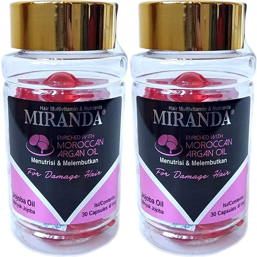 協力故意のこれらMIRANDA ミランダ Hair Multivitamin&Nutrients ヘアマルチビタミン ニュートリエンツ 洗い流さないヘアトリートメント 30粒入ボトル×2個セット Jojoba oil ホホバオイル [海外直送品]