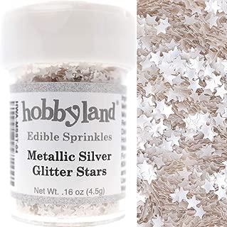 Hobbyland Edible Sprinkles (Metallic Silver Glitter Stars, 4.5g)