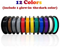 Dikale PLA 3D Printer Filament(12 Assorted Colors, 500g per Spool, 12 Spools), 1.75mm, Dimensional Accuracy +/- 0.02 mm(Suitable for Ender 3 3D Printer etc)
