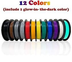 Dikale PLA 3D Printer Filament(12 Assorted Colors, 500g per Spool, 12 Spools), 1.75mm, Dimensional Accuracy +/- 0.02 mm(Suitable for Ender 3 3D Printer etc)