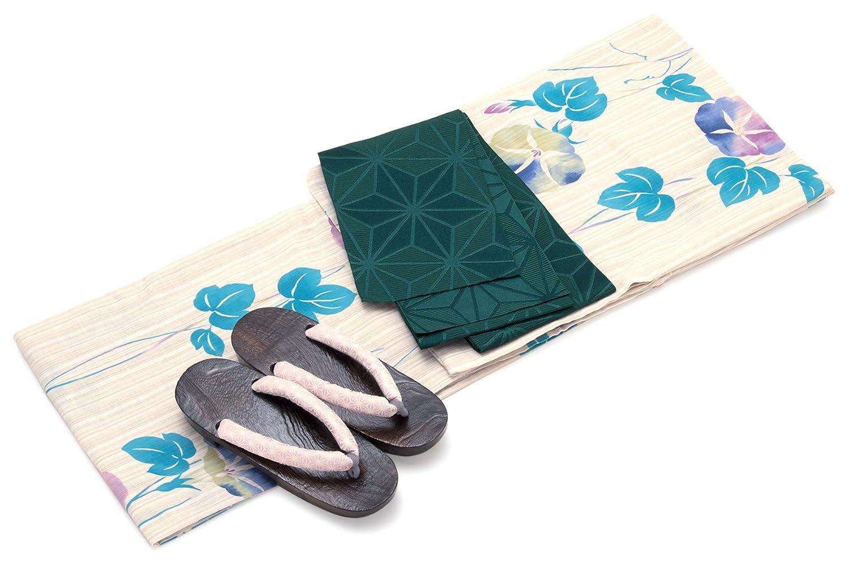 レディース浴衣セット[浴衣/半幅帯] bonheur saisons 薄茶色 ベージュ 水色 ブルー 紫色 深緑色 朝顔 あさがお 花 綿麻 浴衣セット 女性 フリーサイズ