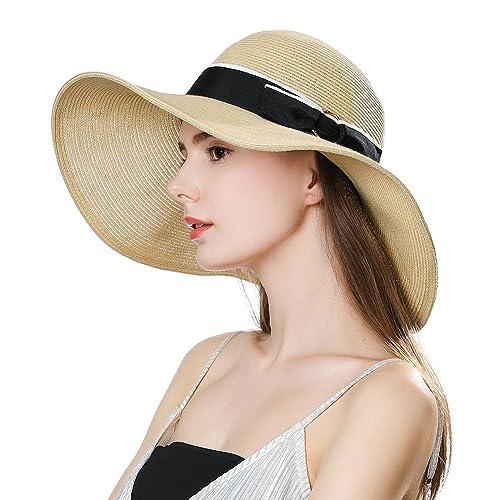 2dab7c44900 Straw Kentucky Derby Sun Hat Fedora Women Summer Beach Wide Brim Packable  Floppy Cloche Beige