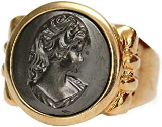 Black Oxidized Cameo Ring 18k Yellow Gold Electroplated