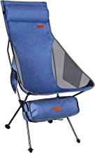 Risepro Upgraded Outdoor Camping Chair Portable Lightweight Folding Camp Chairs Denim with Head, Neck Rest & 2-Sided Pocke...