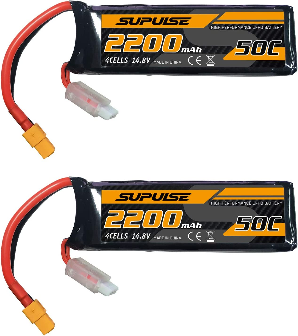 SUPULSE 2pcs Clearance SALE! Limited time! 14.8V 4S 2200mAh 50C with Battery XT60 Lipo fo Plug Over item handling