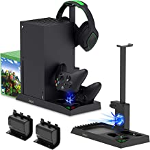 Charging Stand with Cooling Fan for Xbox Series X Console and Controller,Vertical Dual Charger Station Dock Accessories wi...