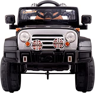 Sandinrayli 12V Black Jeep Kids Ride On Battery Powered Toy Vehicle Remote Control w/ MP3 LED Lights