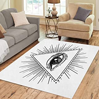 Semtomn Area Rug 2' X 3' Eye of Providence Masonic Symbol All Seeing Inside Triangle Home Decor Collection Floor Rugs Carpet for Living Room Bedroom Dining Room