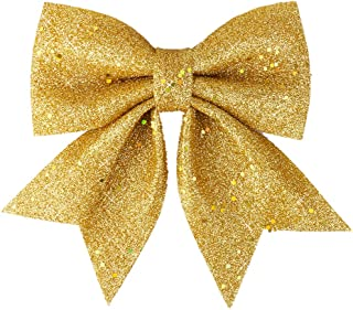 Vesil Large Gold Glitter Ribbon Bow Tie Christmas Tree Party Decorations Xmas Decor Wreath Ornaments, 10
