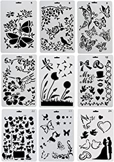 URlighting Drawing Painting Stencils Template(9 Pcs) - Various Styles Patterns with Butterfly, Flowers, Birds, Figures, An...