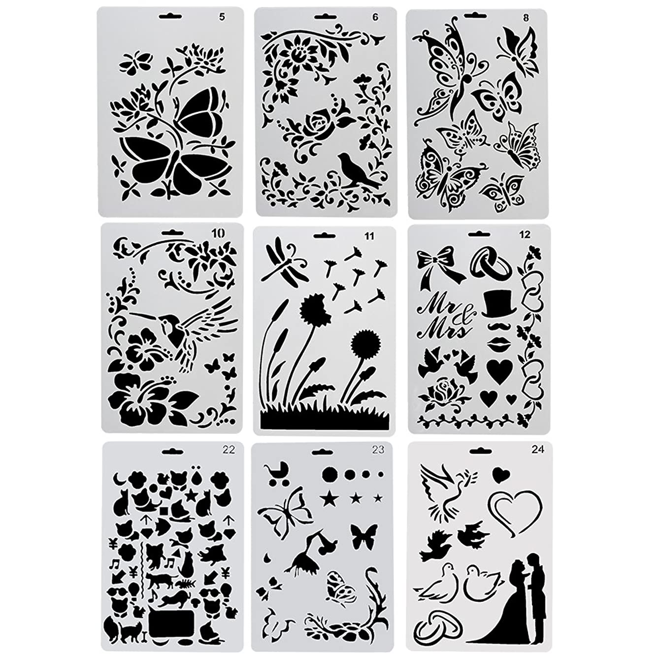 URlighting Drawing Painting Stencils Template(9 Pcs) - Various Styles Patterns with Butterfly, Flowers, Birds, Figures, Animal Shape, Heart Shape for Children Creation,Scrapbooking, DIY Craft Projects