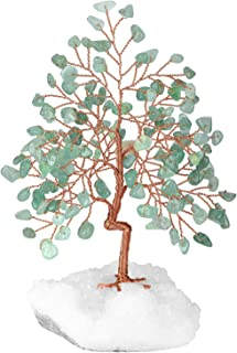 """CrystalTears Natural Green Aventurine Crystal Tree Copper Wire Wrapped on Rock Quartz Crystal Cluster Base Money Tree Feng Shui Crystal Figurine for Wealth Good Luck Reiki Healing Home Decor 5.5""""-6.3"""""""