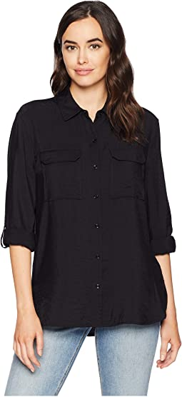 Long Sleeve Flowy Rumple Relaxed Utility Shirt