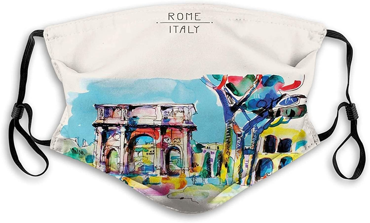 Watercolor, Historical Rome Architecture Italy Scene from Tourist Monument European Artwork,Multicolor Reusable Face Mask Balaclava Washable Outdoor Nose Mouth Cover for Men and Women