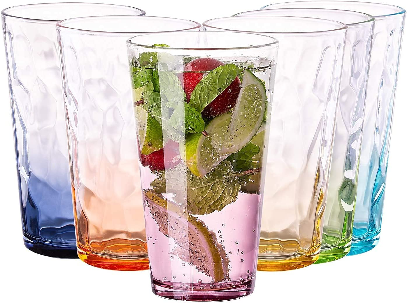 Vastto 17 Ounce Glass Multicolor Diamond Pattern Tumbler,Iced Tea Glasses for Water, Beverage,Juice, Wine,Beer and Cocktail,Set of 6 (Six Gradient Colors)