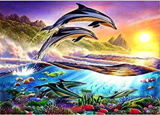 MXJSUA DIY 5D Diamond Painting by Number Kits Full Round Drill Rhinestone Cross Stitch Picture Craft for Home Wall Decor 12x16In Jumping Dolphin