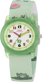 Timex Kids' T7B705 Analog Frogs Elastic Fabric Strap Watch