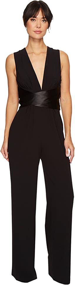 Halston Heritage - Sleeveless V-Neck Wide Leg Jumpsuit w/ Wrap Tie