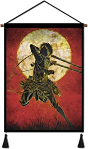 Japanese Anime Wall Scroll Hanging Poster, Attack on Titan Eren Poster with Hanger Canvas Wall Art for Home Bedroom Dorm Office(18''Wx26''H) (Eren1)