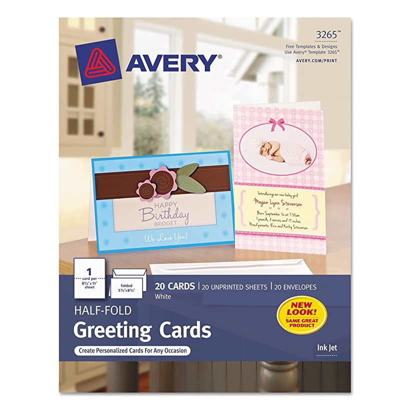 Avery 3265 Greeting Cards, Inkjet, 5-1/2