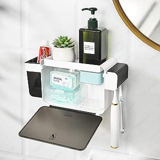 YOHOM Adhesive Toothbrush Holder Bathroom Organizer Storage Set Shower Caddy Wall Mounted Razor Toothbrush Holder with Dus...