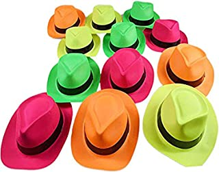 Ifavor123 Bright Neon Color Plastic Gangster Hats – Themed Party Fedora Hat Accessory (12)