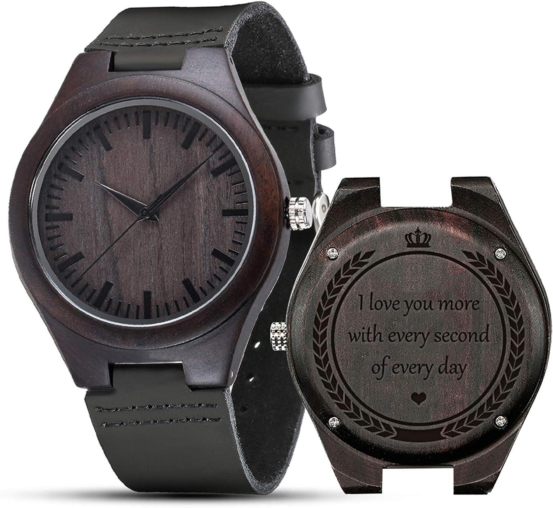 Relojes grabados, relojes de madera regalos personalizados reloj de madera personalizado para hombres mujeres marido esposa padrinos cumpleaños boda aniversario graduación Navidad S5520