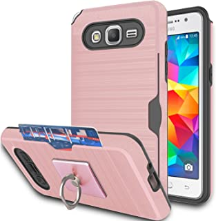 Galaxy Grand Prime Case,Galaxy J2 Prime Case With Phone Stand,Ymhxcy [Credit Card Slots Holder][Brushed Texture] Dual Layer Shockproof Protective Cover For Samsung Galaxy G530H-LCK Rose Gold