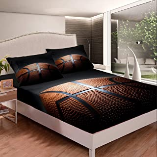 Bed Sheet Set Basketball Comforter Cover Set Basketball Championship 3D Sports Basketball Bedding Set 1 Fitted Sheet & 2 Pillow Case Full