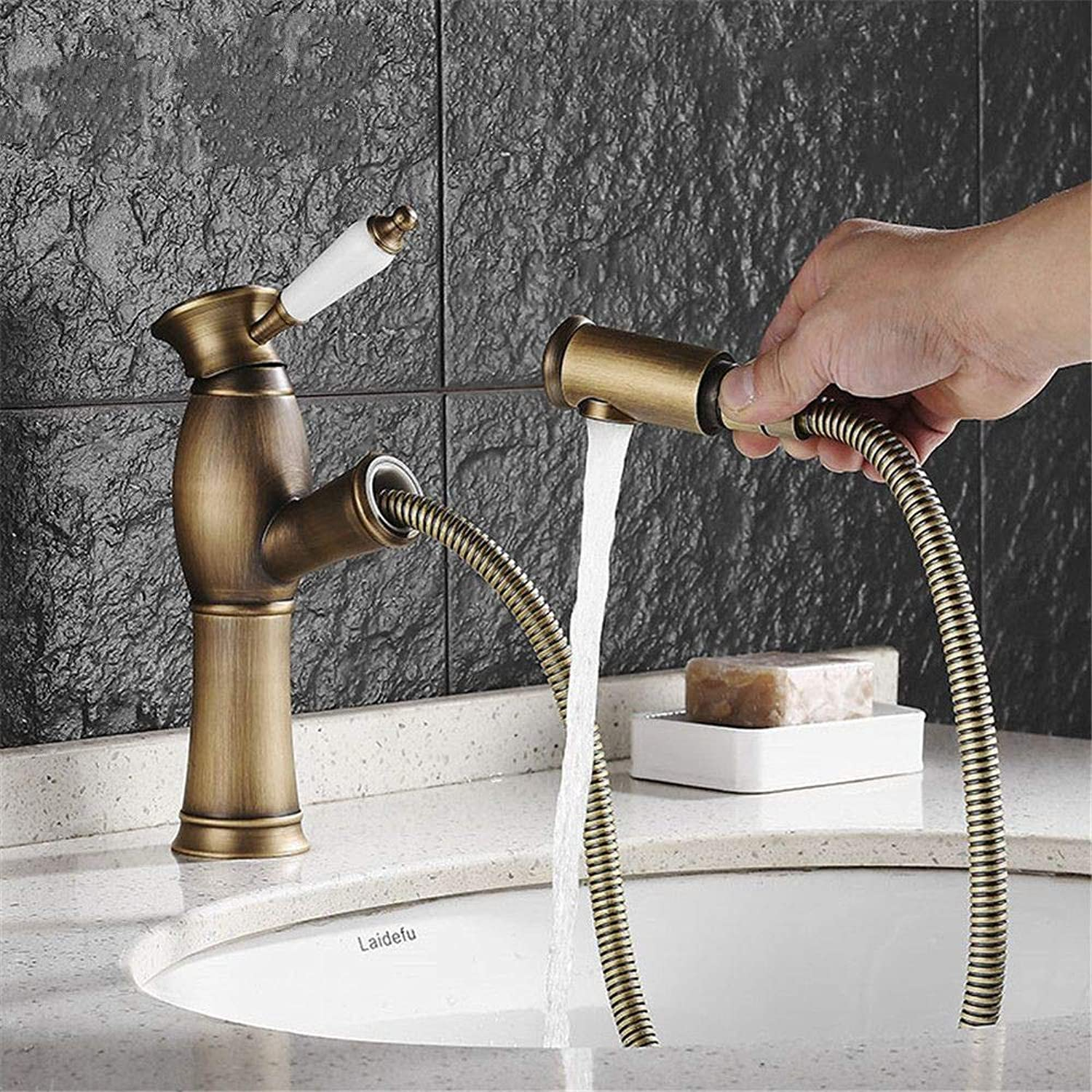 YAWEDA Ancient-Style Belt Pulls Out The Sprinkler Tap, The Faucet, The Faucet, The Faucet, The Ceramic Single-Handled Wrench Type Belt Crystal