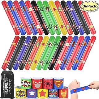 POKONBOY Superhero Slap Bracelets for Kids - 36 Pack Slap Bracelets Superhero Birthday Party Favors Supplies Super Hero Carnival Prizes (Storage Bag Included)