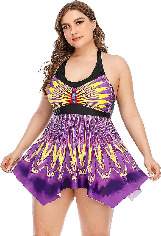 wodceeke Womens Plus Size Bow Print Halter Swim Dress Swimsuit Swimwear Set